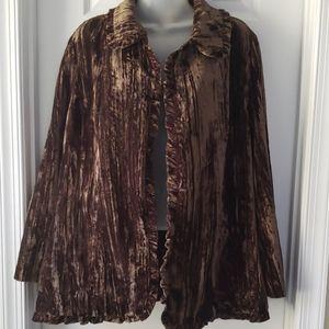 Victor Costa brown Crushed Velvet Blazer Jacket